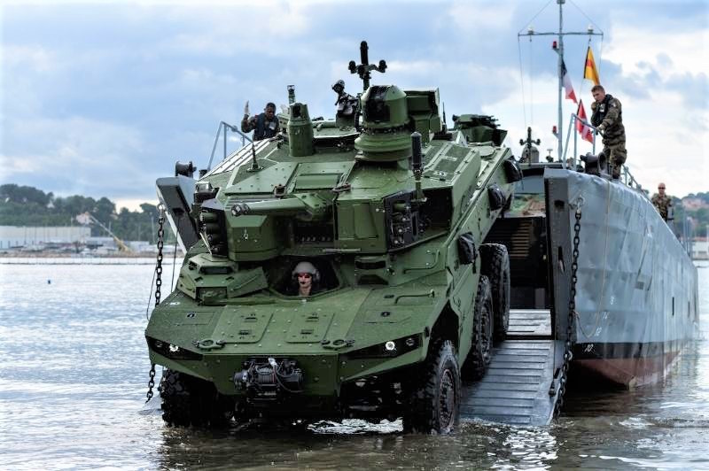French Test Jaguar Armored Vehicles for Amphibious Qualification Testing