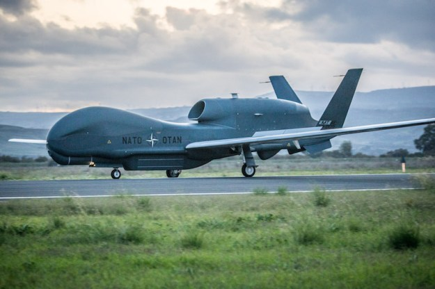The first of five NATO RQ-4D Alliance Ground Surveillance (AGS) unmanned aircraft lands in Sigonella, Italy on Thursday, November 21, after a 22-hour ferry flight from the Northrop plant in Palmdale, California