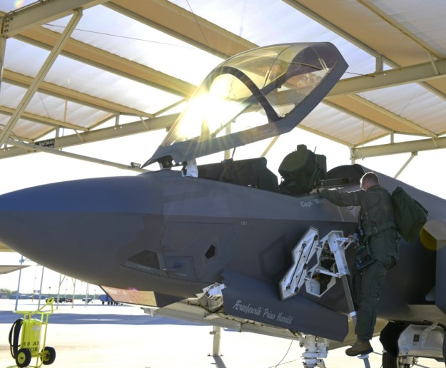 U.S. Air Force Capt. Roland Neal, 62nd Fighter Squadron fighter pilot student, prepares for his first flight in the F-35A Lightning II Oct. 1, 2019, at Luke Air Force Base, Ariz.