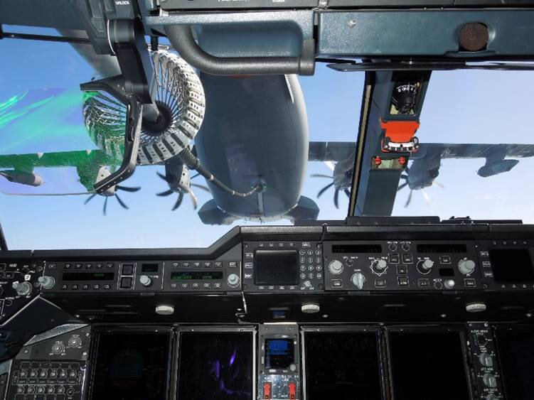 France's 16th A400M is the first to be fully capable in terms of dropping troops and equipment by parachute, and to be able to refuel other transport aircraft; earlier aircraft will be retrofitted accordingly. Flight deck displays have been blacked out.