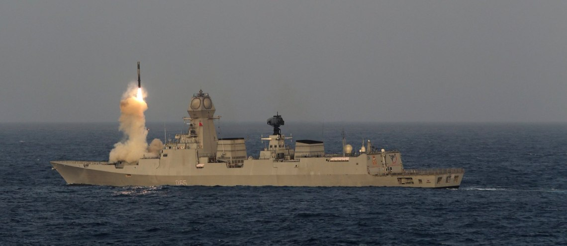 BrahMos supersonic cruise missile fired from INS Chennai stealth guided missile destroyer during TROPEX 2017
