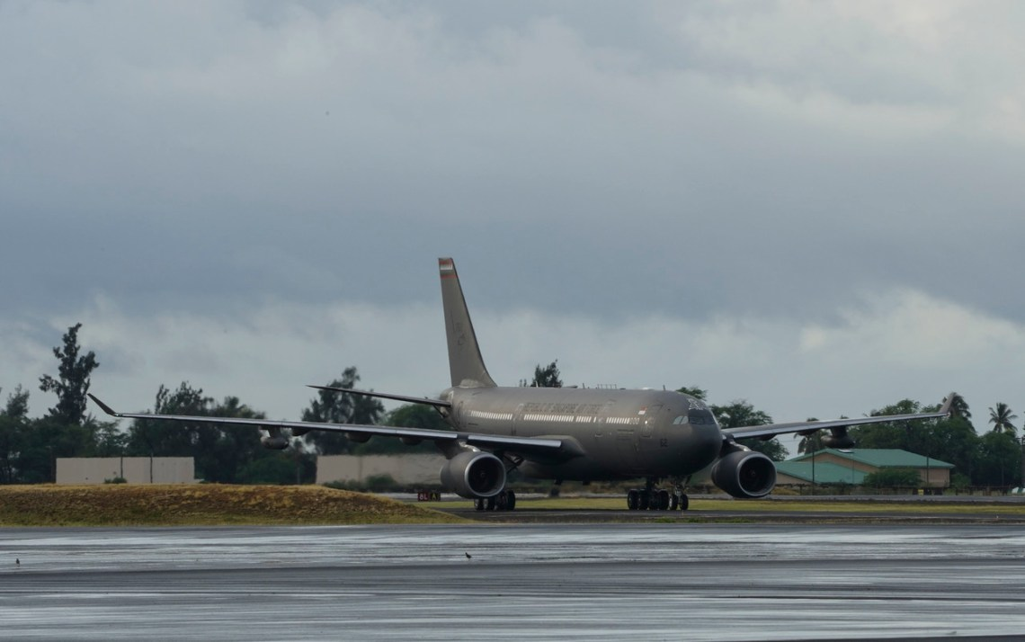 A Republic of Singapore air force A330-Multi-role Tanker Transport, lands at Joint Base Pearl Harbor-Hickam, Hawaii, Sept. 25, 2019. The RSAF airmen and women are headed to Mountain Home Air Force Base, Idaho for Singapore's Exercise FORGING SABRE, an integrated strike exercise, from 30 Sept. to 10 Oct.  (U.S. Air Force photo by Tech. Sgt. Heather Redman)