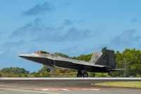 An F-22 Raptor from the 19th Fighter Squadron, Hickam Air Base, lands at the Palau International Airport April 25, 2019, during exercise Resilient Typhoon. The exercise was designed to increase Pacific Air Forces' ability to rapidly deploy and operate from airfields throughout the region. (U.S. Air Force photo by Airman 1st Class Matthew Seefeldt)