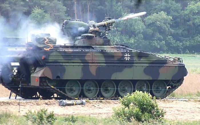 """The modernized Marder 1A5 is now able to utilize the MELLS, a German acronym standing for """"multirole-capable light anti-tank missile system""""."""