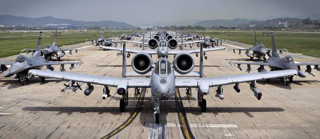 A-10 Thunderbolt II aircraft and F-16 Fighting Falcon aircraft at South Korea's Osan Air Base