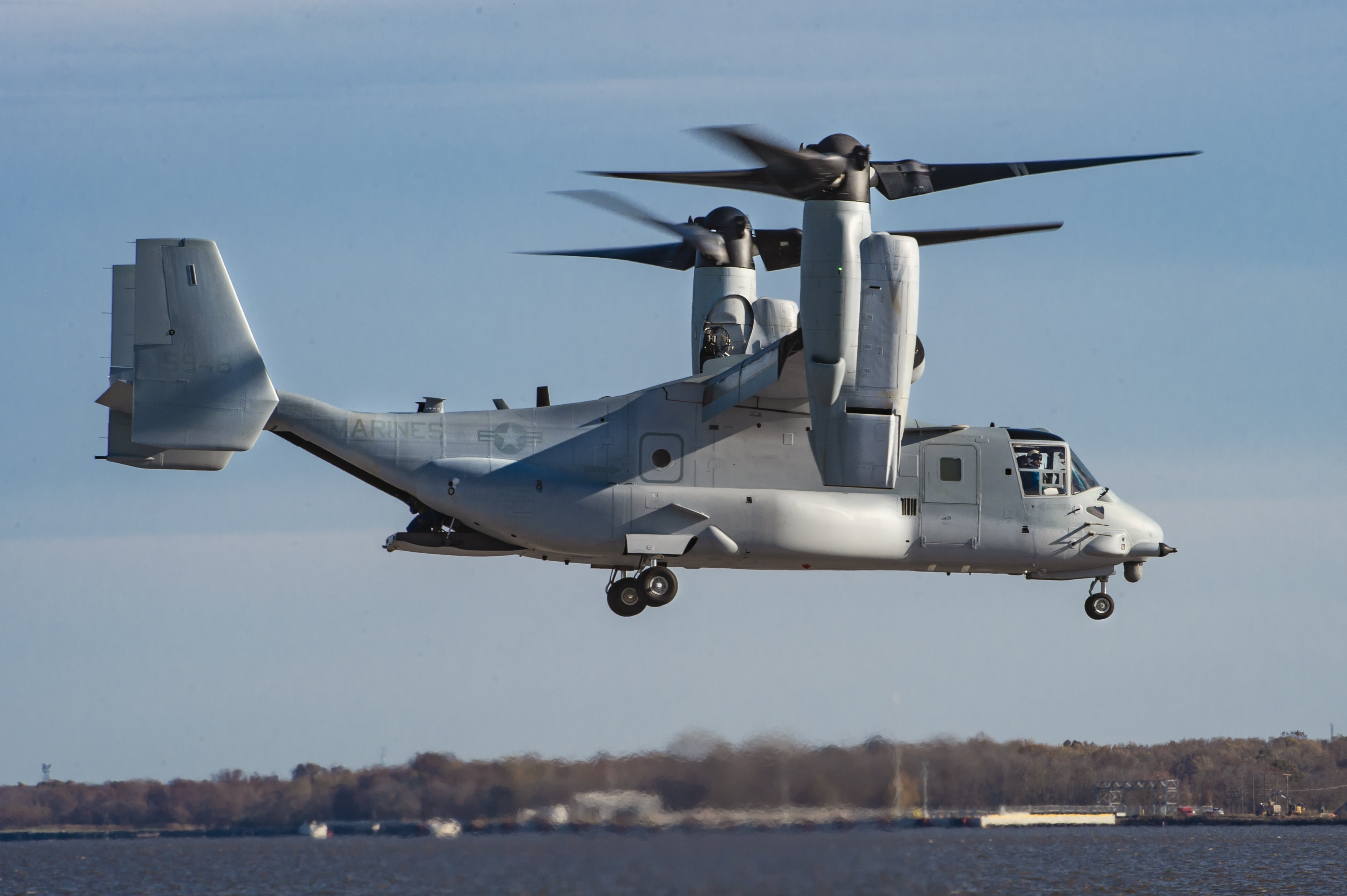 Boeing test pilots conduct the maiden flight of the first V-22 Osprey under the Common Configuration – Readiness and Modernization (CC-RAM) program which is to be delivered to the U.S. Marine Corps.