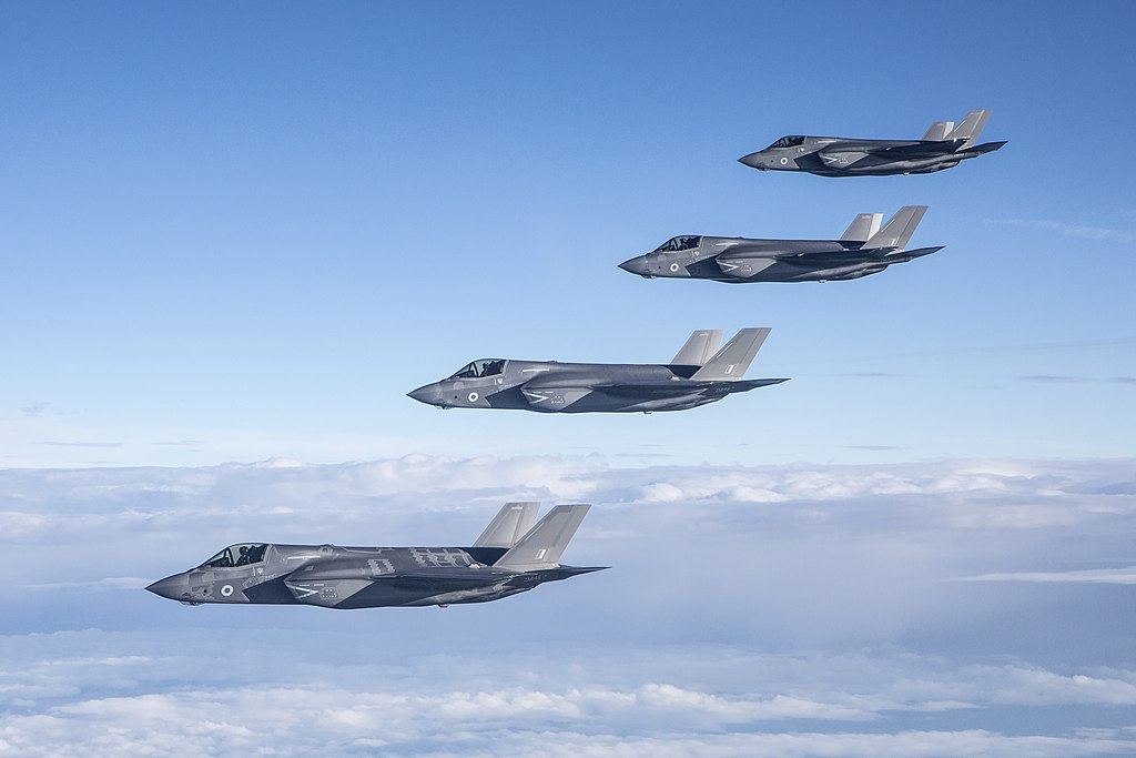 Pictured are four of Britain's new cutting-edge F-35B aircraft, flying over the UK in June 2018. The first of Britain's new cutting-edge aircraft arrived into RAF Marham their new home in Norfolk.
