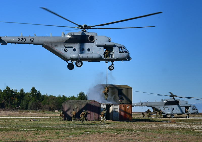 The official inauguration of the Multinational Special Aviation Program Training Center in Zadar, Croatia, on Dec. 11 ended with a demonstration by Croatian special forces using two Mi-171Sh helicopters escorted by two OH-58Ds.