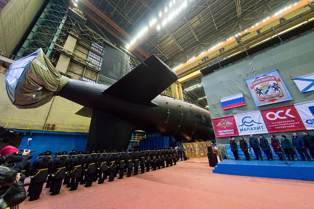 Novosibirsk, floated out at the Sevmash shipyard on Christmas Day, is the first of a new class of modernized Yasen-M nuclear attack submarines; the first of class Kazan os undergoing sea trials.