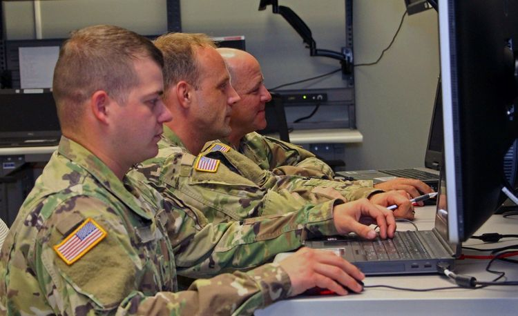 Army Air Defense Artillery soldiers participating in an IBCS Agile Pilot Sprint Review at one of Northrop Grumman's software integration laboratories in Huntsville, Alabama.