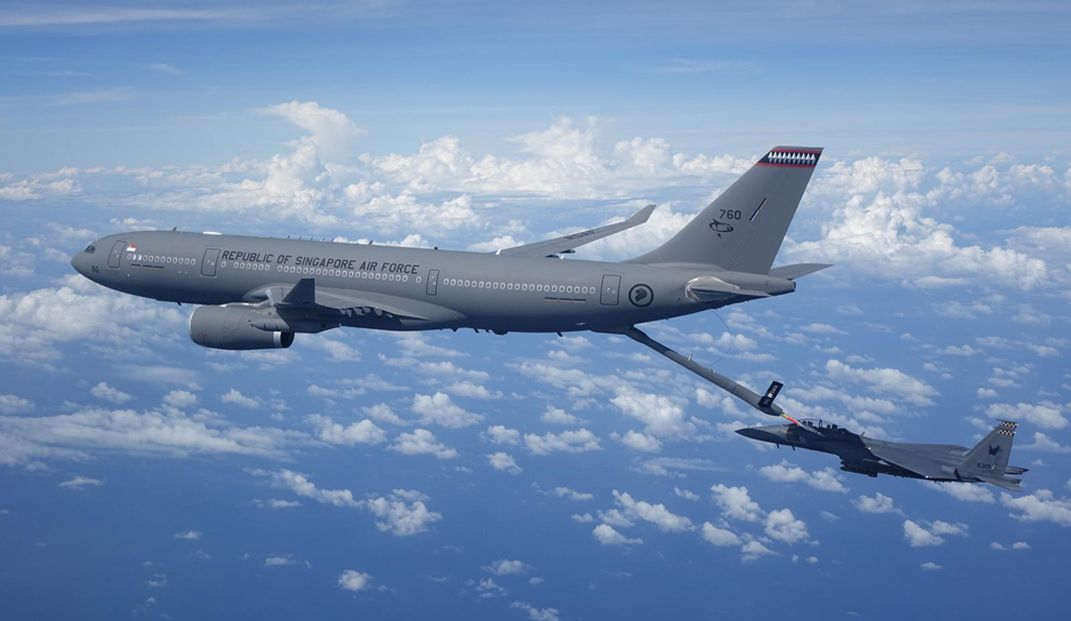 Republic of Singapore Air Force A330 MRTT in a refuelling operation with a Republic of Singapore Air Force F-15SG fighter
