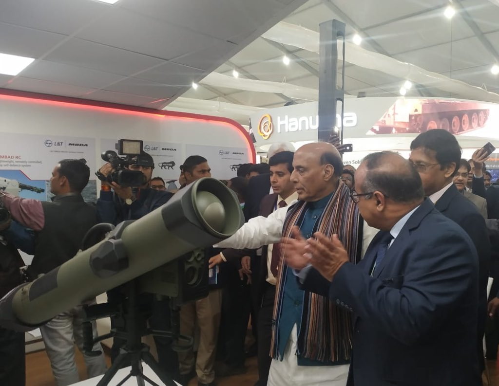 Defence Minister of India Rajnath Singh during Defexpo India 2020 and showcase the latest in missile systems for India such as ATGM5 and SeaCeptor, being offered by L&T MBDA Missile Systems (LTMMSL)