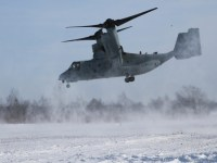 An MV-22B Osprey with Marine Medium Tiltrotor Squadron 262, 1st Marine Aircraft Wing, lands to offload U.S. Marines and members of Japan Ground Self-Defense Force as part of a heliborne insert during exercise Northern Viper at Hokudaien Training Area, Hokkaido, Japan, Feb. 5, 2020.