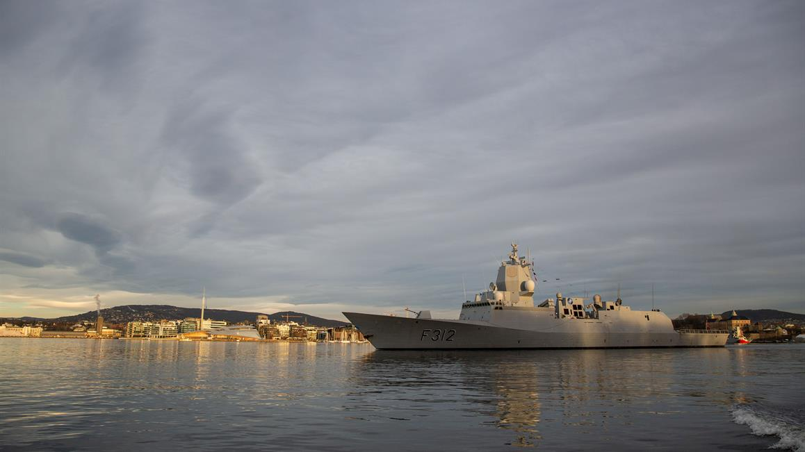 HNoMS Otto Sverdrup leaving Oslo, Norway on 20 January 2020.