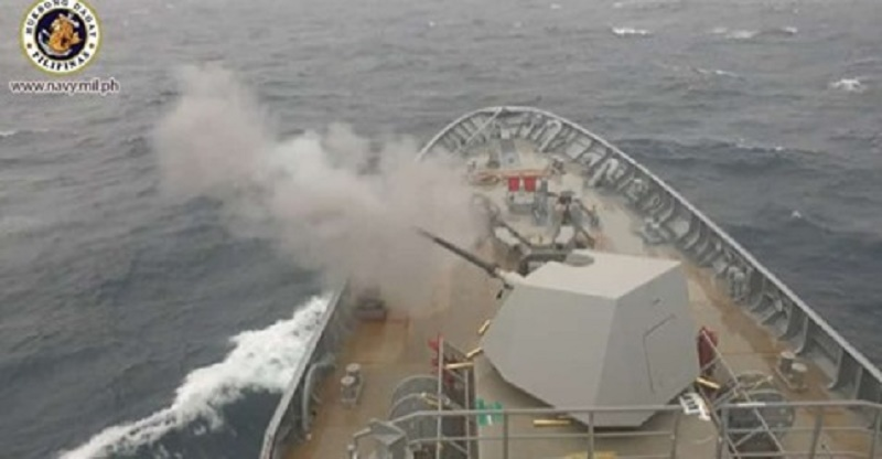 Test-firing of Philippine Navy BRP Jose Rizal's Oto Melara Super Rapid Main Gun Successful