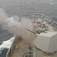 Test-firing of Philippine Navy BRP Jose Rizal's Oto Melara Super Rapid Main Gun Successful
