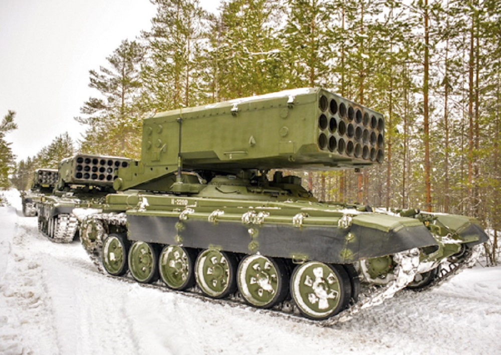 Russian CBRN Tests Extended Range Rocket for TOS-1A Multiple Rocket Launching System
