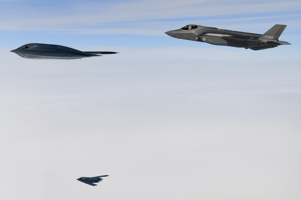 U.S. B-2A Spirit bombers assigned to the 509th Bomb Wing and a Royal Netherlands air force F-35A conduct aerial operations in support of Bomber Task Force Europe 20-2 over the North Sea March 18, 2020.