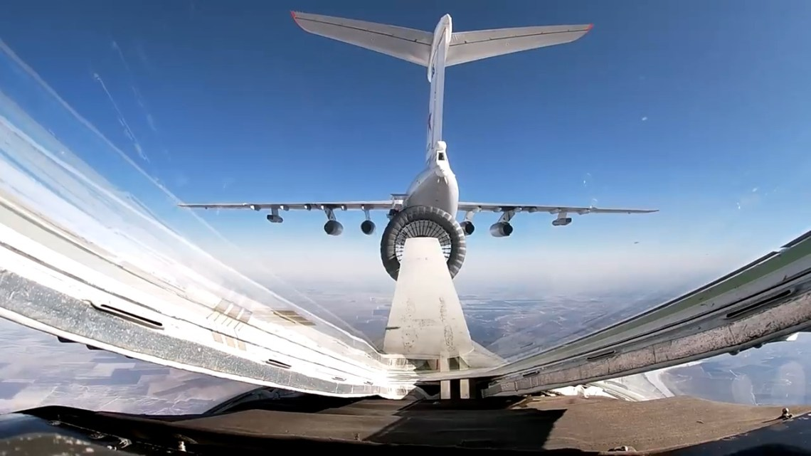 Russian Bomber Tu-160M Aerial Refueling Exercise