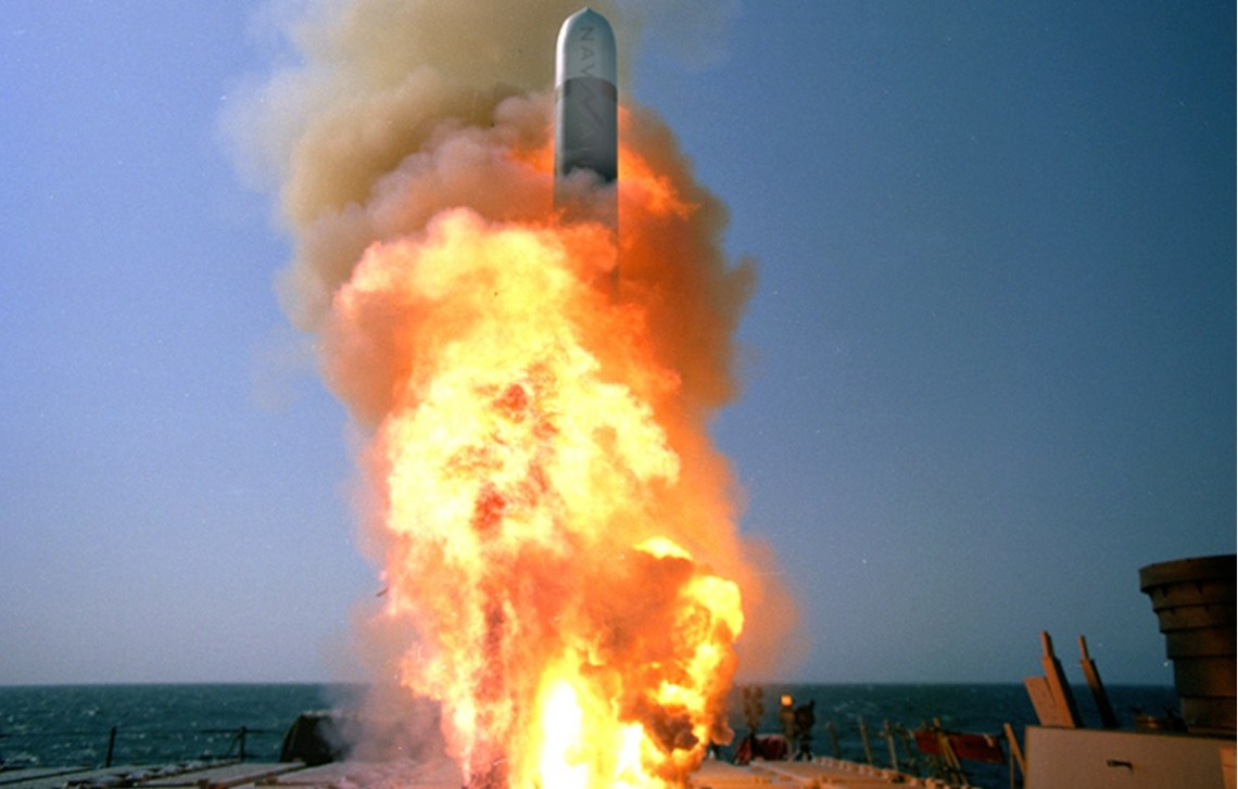 A Raytheon-built Tomahawk Block IV cruise missile is launched from the USS Stethem (DDG-63).