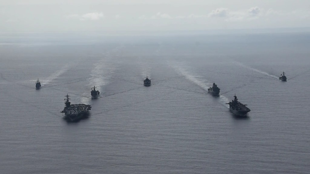 Theodore Roosevelt CSG and America ESG transit the Philippine Sea During Expeditionary Strike Force Operations