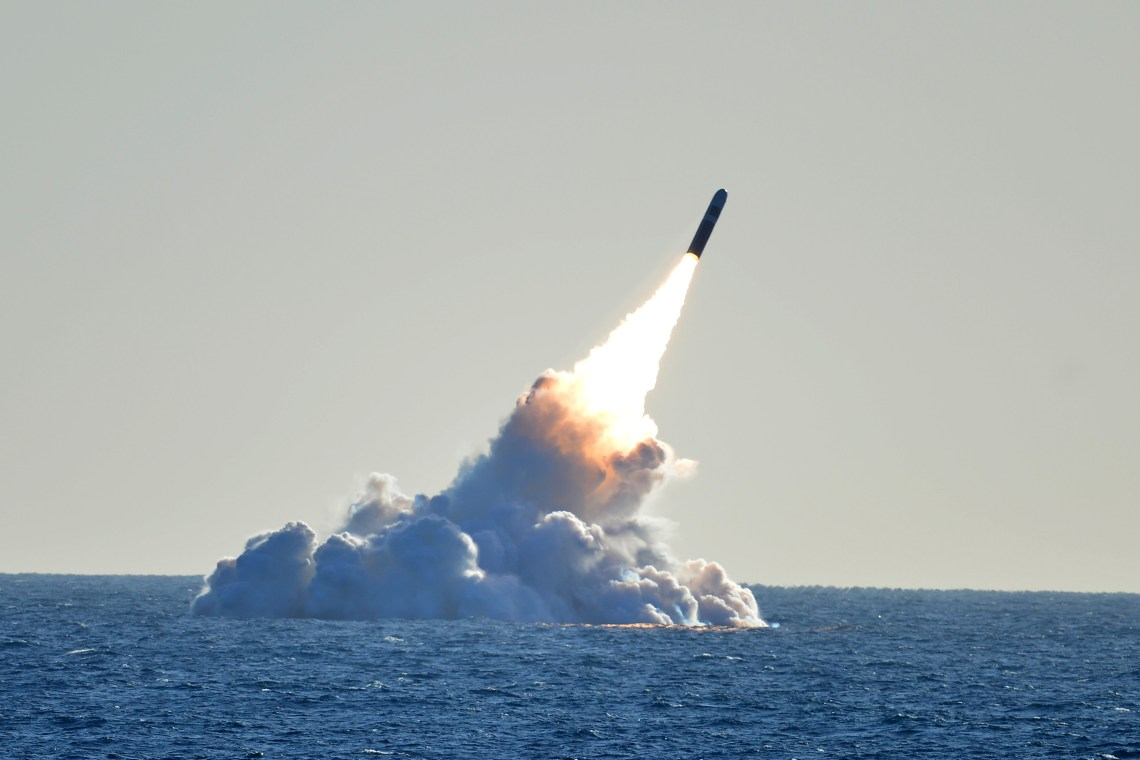 An unarmed Trident II D5 missile launches from the Ohio-class ballistic missile submarine USS Nebraska (SSBN 739) off the coast of California. The test launch was part of the U.S. Navy Strategic Systems Program's demonstration and shakedown operation certification process. The successful launch certified the readiness of an SSBN crew and the operational performance of the submarine's strategic weapons system before returning to operational availability. (U.S. Navy photo by Mass Communication Specialist 1st Class Ronald Gutridge/Released)
