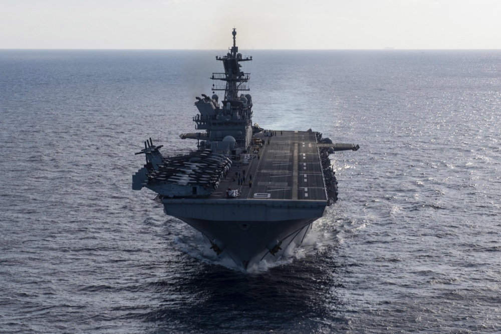 USS America (LHA 6) the flagship of the America Expeditionary Strike Group,  transits the Gulf of Thailand.