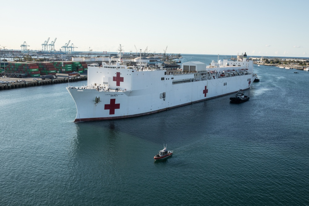 U.S. Navy USNS (T-AH 19) Mercy Accepts its First Patients in Los Angeles