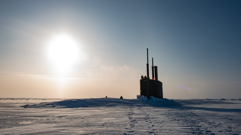 USS Toledo (SSN-769) arrives at Ice Camp Seadragon on the Arctic Ocean kicking off Ice Exercise (ICEX) 2020.