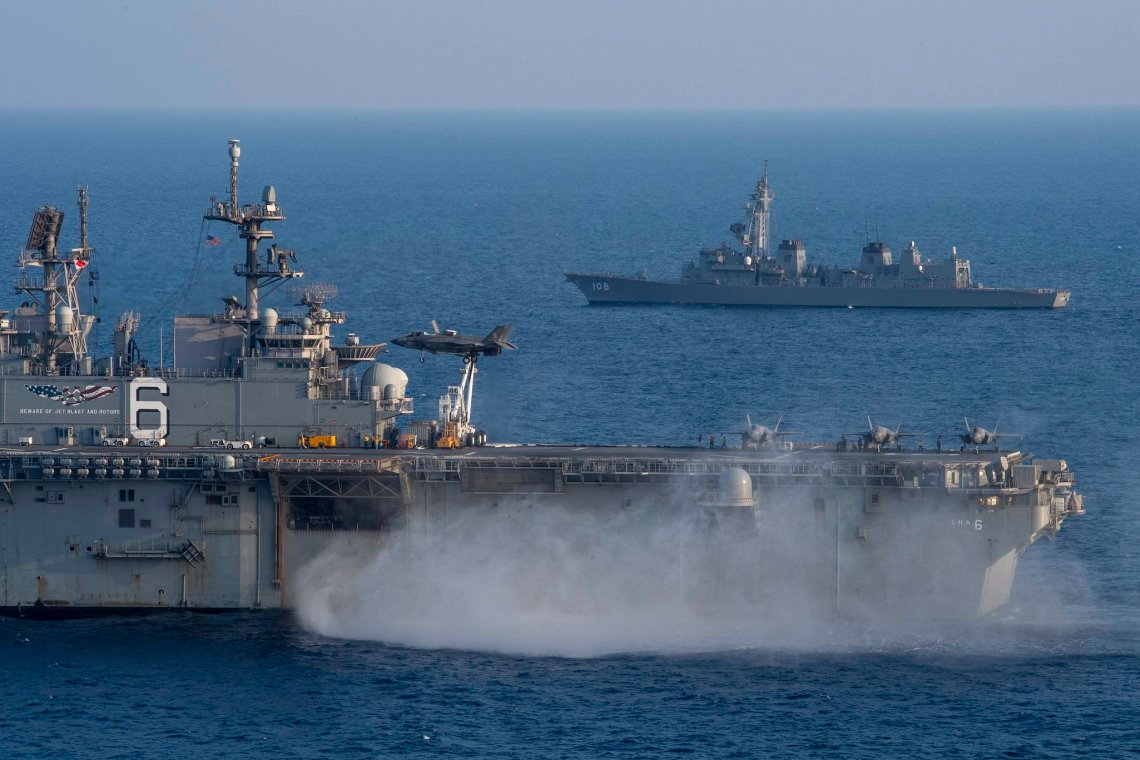 Amphibious Assault Ship USS America and  Destroyer JS Akebono Sail Together in East China Sea