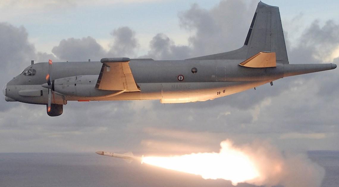 French Navy Atlantique 2 firing Exocet AM39