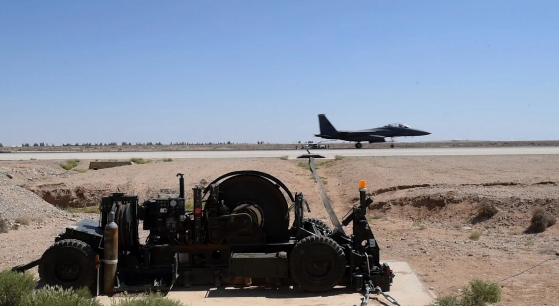 US Air Force F-15 Mobile Aircraft Arresting System Test in Southwest Asia