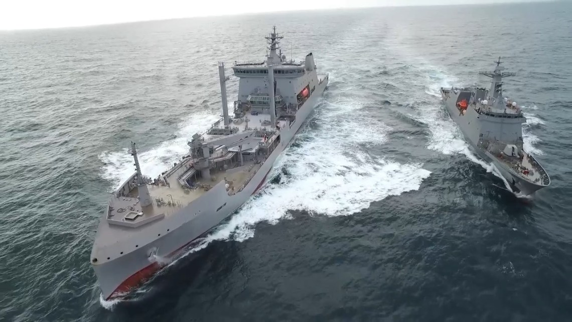 Royal New Zealand Navy Naval Tanker Conducting Replenishment Trials with Philippine Frigate