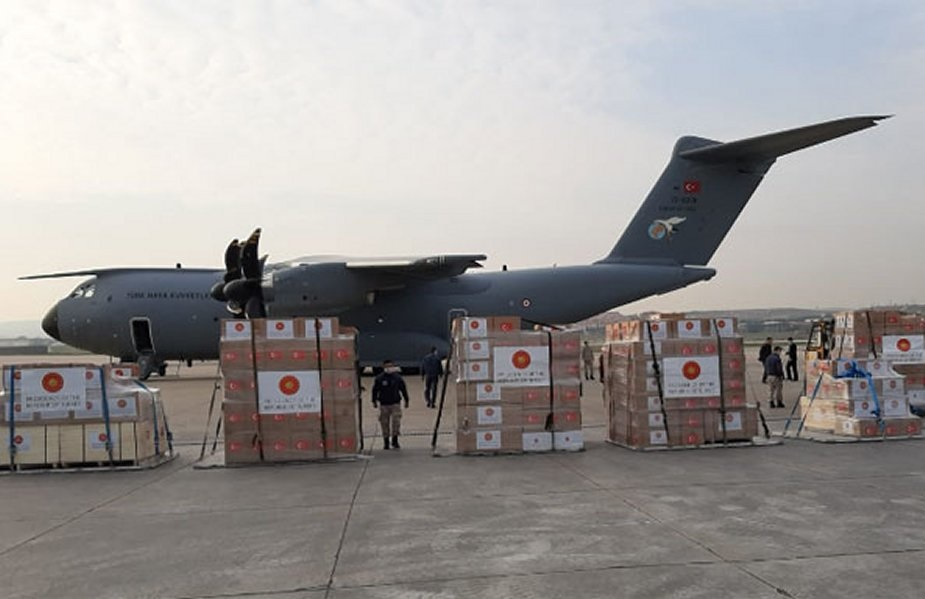 Turkish Air Force A-400M carrying medical supplies donated by Turkey