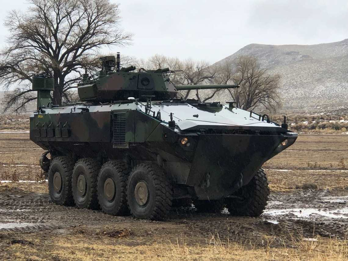A Marine Corps Amphibious Combat Vehicle (ACV) fitted with Kongsberg's MCT-30 turret. Kongsberg will deliver up to 150 MCTs in a phased program as part of this contract, with delivery of test equipment to begin in early 2021.