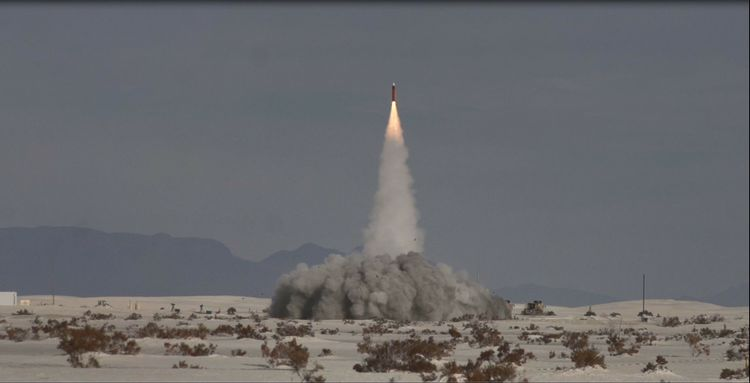An interceptor missile is launched by U.S. Army soldiers at White Sands Missile Range during Flight Test 5 (FT-5), the most sophisticated and difficult development test yet for the Army's Integrated Air and Missile Defense (IAMD) Battle Command System (IBCS), developed by Northrop Grumman. IBCS was used to continuously track two incoming surrogate cruise missile threats and launch two interceptor missiles to successfully destroy them.