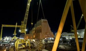 Ingalls Shipbuilding Lifts 320-Ton Aft Deckhouse onto Guided Missile Destroyer Jack H. Lucas