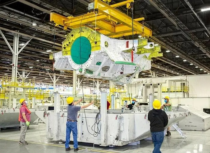 The 500th F-35 center wing on the production line at Lockheed Martin's plant in Marietta, Georgia.