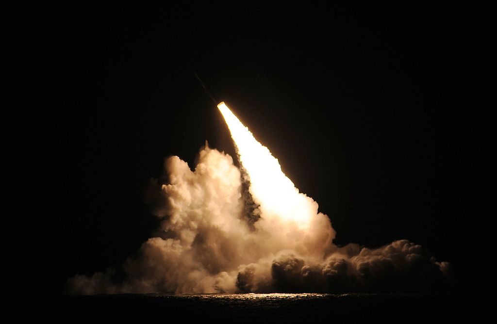 USS Kentucky firing a Trident II Submarine-Launched Ballistic Missile (SLBM) in 2015 as part of the DASO 26 test launch