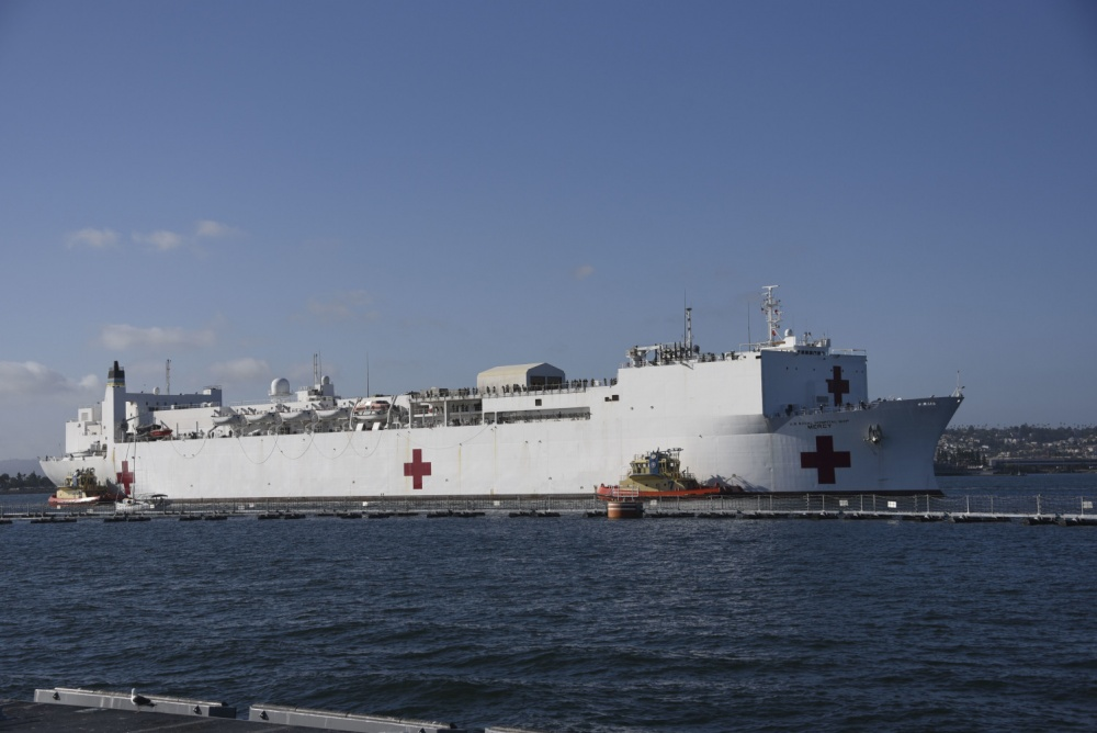 Hospital ship USNS Mercy (T-AH 19) arrives in San Diego May 15. Mercy deployed in support of the nation's COVID-19 response efforts, and served as a referral hospital for non-COVID-19 patients admitted to shore-based hospitals. This allowed shore-based hospitals to focus their efforts on COVID-19 cases. One of the Department of Defense's missions is Defense Support of Civil Authorities. DoD is supporting the Federal Emergency Management Agency, the lead federal agency, as well as state, local and public health authorities in helping protect the health and safety of the American people. (U.S. Navy photo by Mass Communication Specialist 3rd Class Tim Heaps)