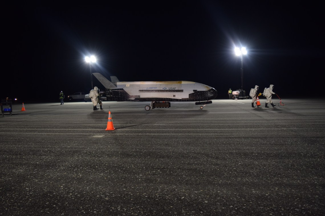 The Air Force's X-37B Orbital Test Vehicle Mission 5 successfully landed at NASA's Kennedy Space Center Shuttle Landing Facility, Oct. 27, 2019. The X-37B OTV is an experimental test program to demonstrate technologies for a reliable, reusable, unmanned space test platform for the Air Force.