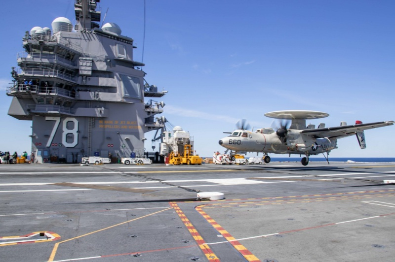 An E-2D Advanced Hawkeye prepares to land on USS Gerald R. Ford's (CVN 78) flight deck during flight operations on May 10, 2020.