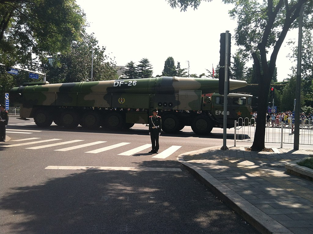 Dong-Feng 26 Intermediate-Range Ballistic Missile as seen as seen after the military parade held in Beijing to commemorate the 70th anniversary of the end of WWII. on September 3, 2015. (IceUnshattered)