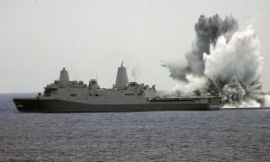USS Mesa Verde Performs a Shock Test