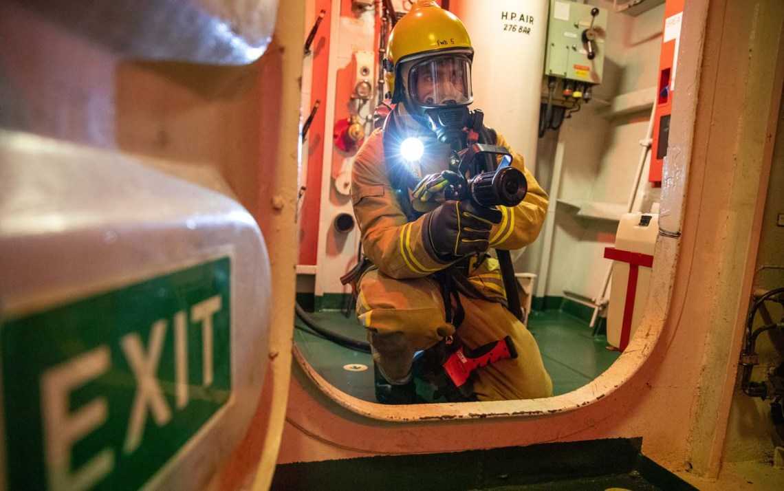 Firefighting exercise on board HMS Lancaster.