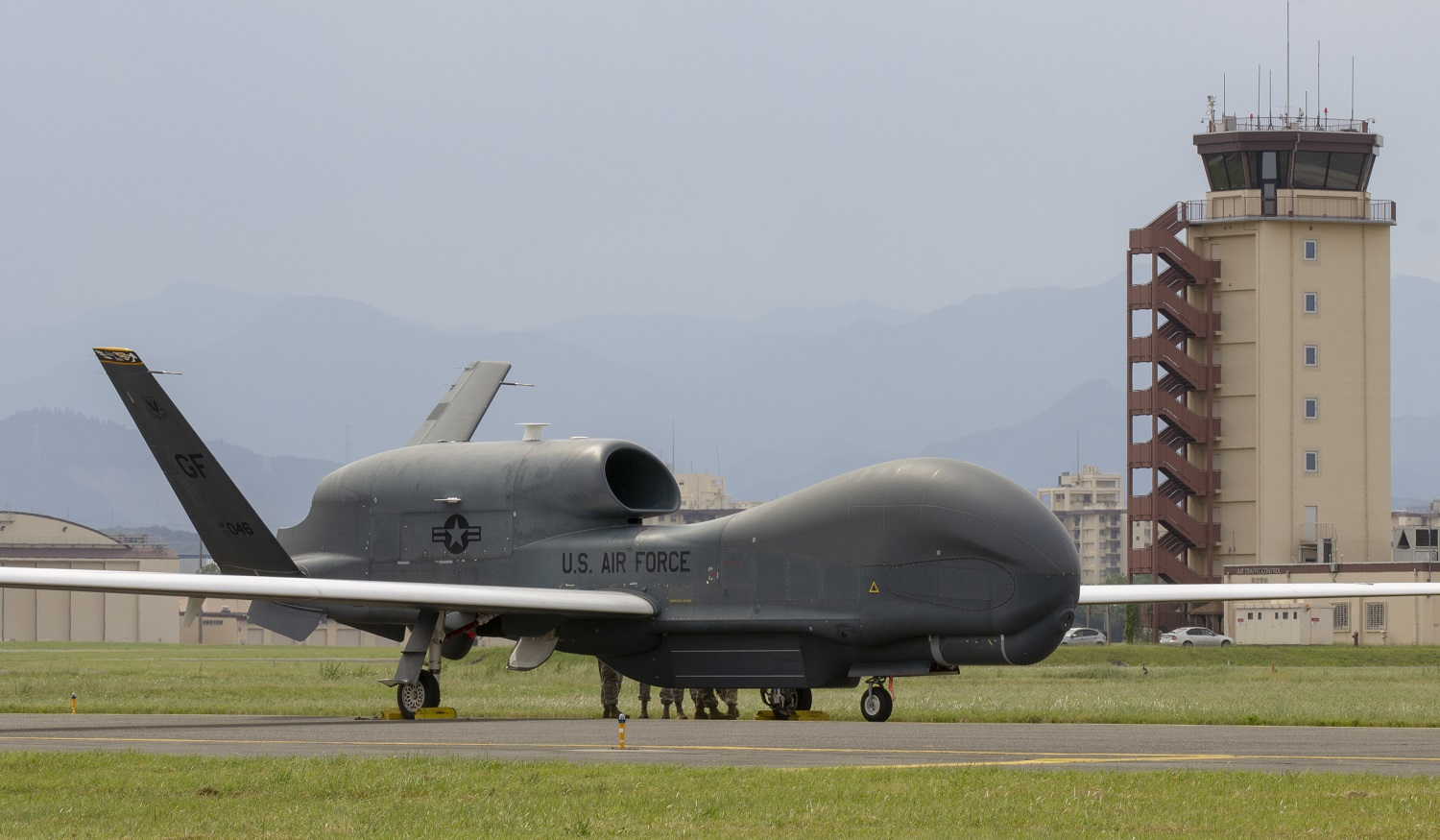 RQ-4 Global Hawk Unmanned Aerial Vehicles Return to Yokota AB After Typhoon