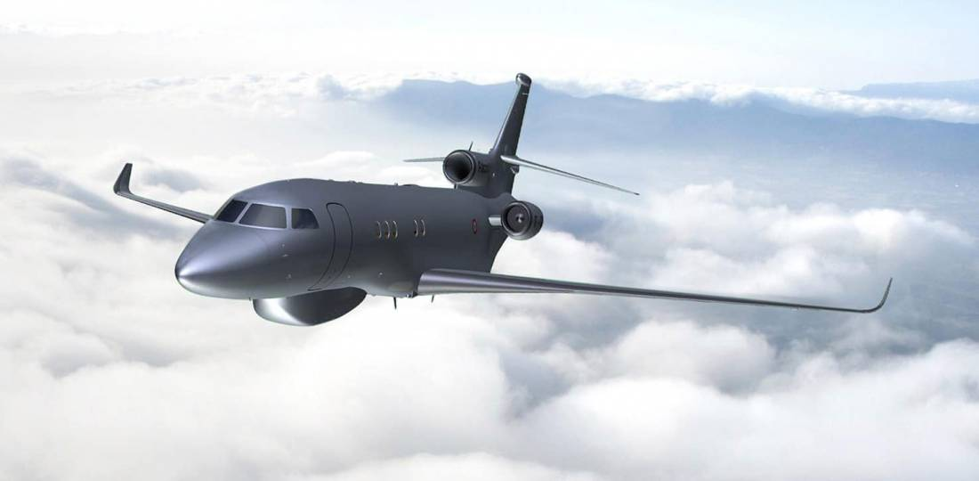 An artist's impression depicts Dassault Falcon 2000S Signals Intelligence (Sigint) Platform