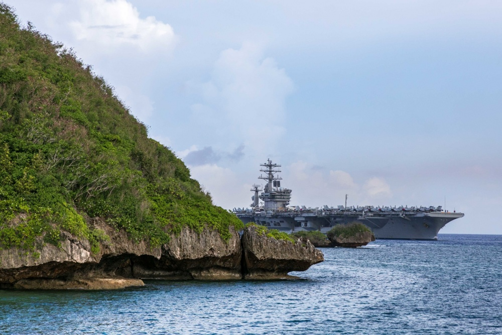 US Navy Nimitz Carrier Strike Group Pulls into Guam for Safe Haven Liberty
