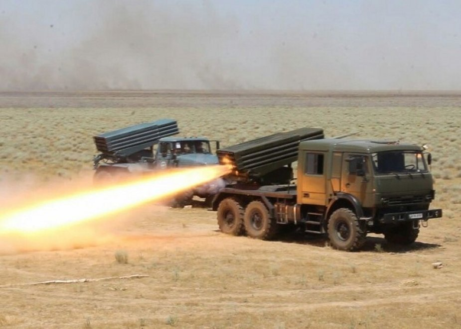 Uzbekistan Army Tests GM-21 MK Sturm Multiple Launch Rocket System