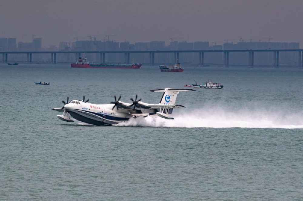 China's AG600 Seaplane Makes Maiden Flight from Sea